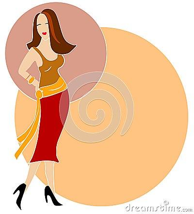 Brunette Fashion Woman Logo