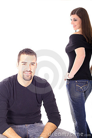 Brunette female checking out male model