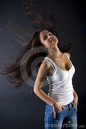 Brunette with flying hairs