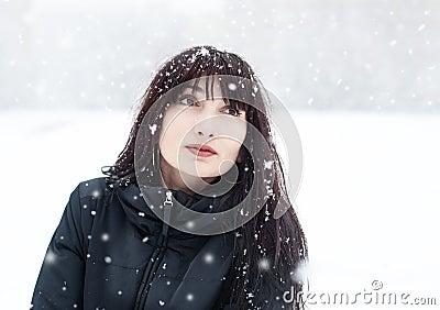 Brunette in a frosty day