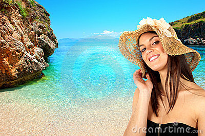 Brunette girl on the beach