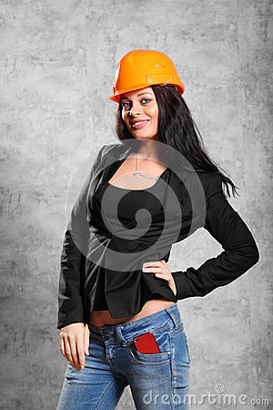 brunette girl in coat, helmet