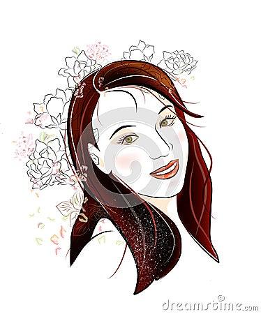 brunette girl with flowers