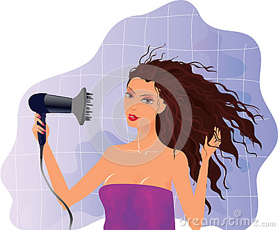 Brunette girl with hairdryer