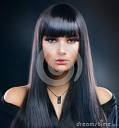 Brunette Girl. Healthy Long Hair