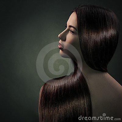 Brunette Girl. Healthy Long Hair