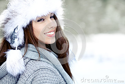 Brunette   girl i winter clothes