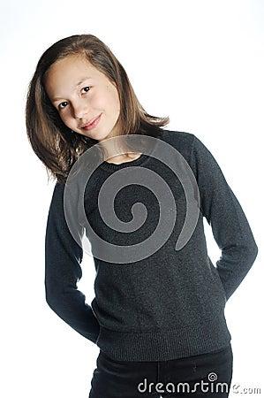 Brunette girl isolated
