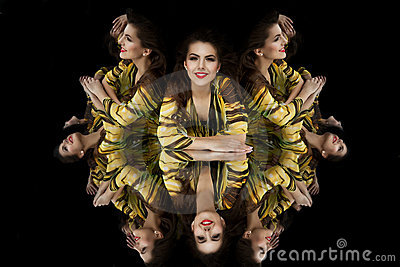 Brunette girl kaleidoscope mirror