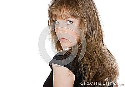 Brunette Girl Looking over her Shoulder