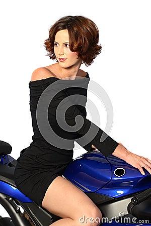 Free Brunette Girl On Motorcycle Black Dress Stock Photo - 1362480