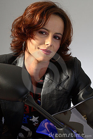 Free Brunette Girl On Motorcycle Leather Jacket Royalty Free Stock Photography - 1362267
