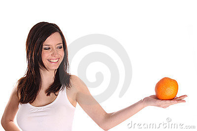 Brunette girl with orange
