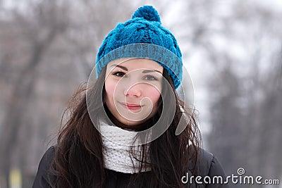 Brunette girl outdoors in winter