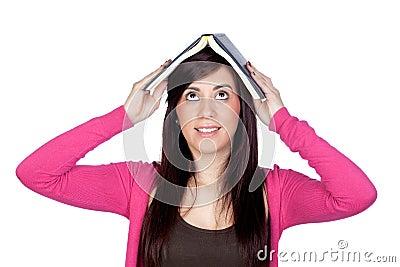 Brunette girl with a reader