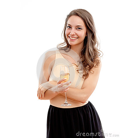 Brunette with glass of champagne.