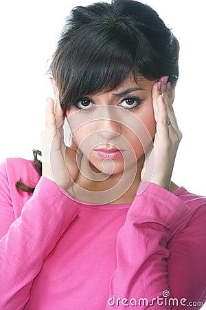 Brunette with headache