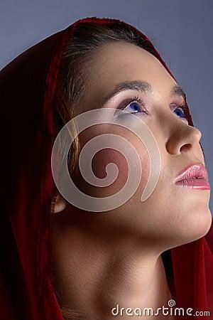Brunette in headscarf
