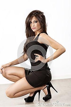 Brunette in high heels