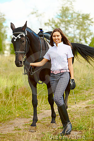 Brunette with horse