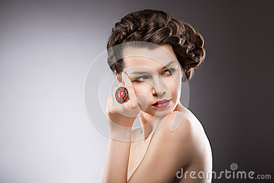 Brunette with Jewelry - Ruby Oval Ring