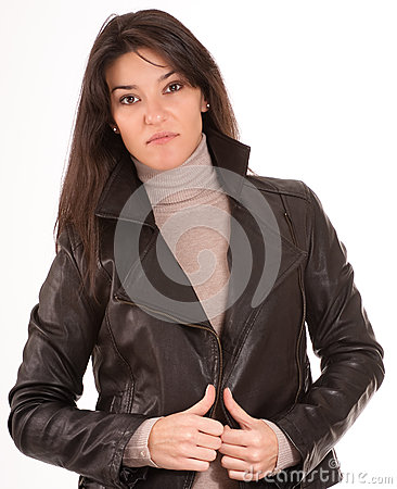 Brunette in a leather jacket