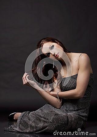 Brunette in long dress