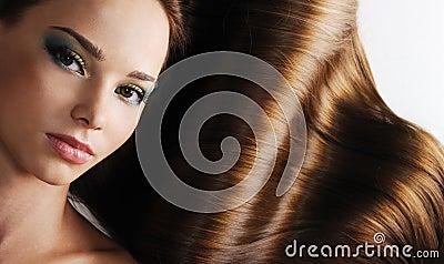 Brunette long healthy female hair