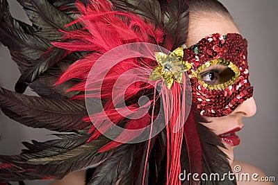 Brunette in mask