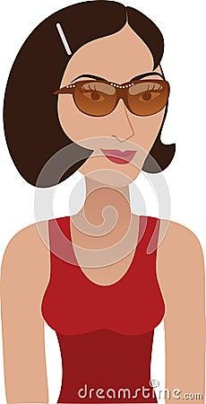 Brunette mit Sonnenbrillen