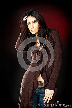 Brunette model posing
