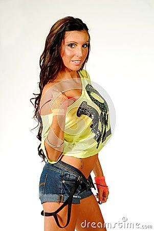Brunette model smiling