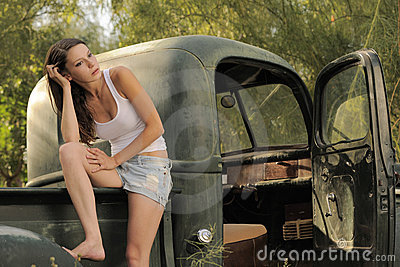 Brunette Model Vintage Pick Up Truck