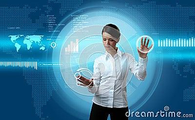 Brunette navigating futuristic interface