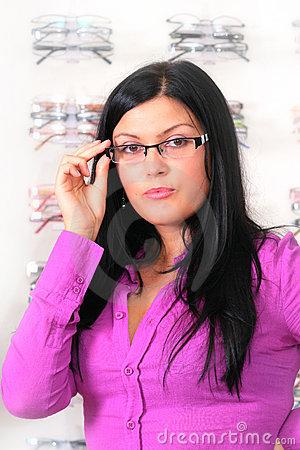 The brunette at the optician