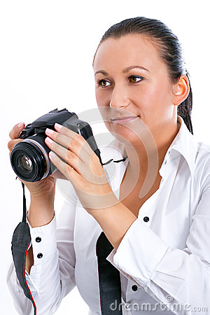 Brunette photographer woman with DSLR camera