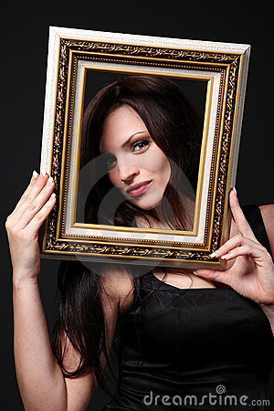 Brunette with picture frame.