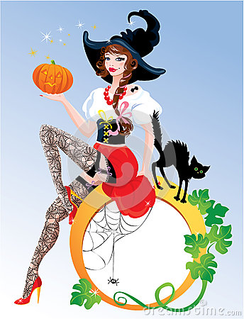 Brunette Pin Up Halloween Girl wearing witch suit