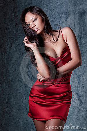 Brunette in red evening dress