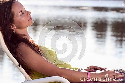 Brunette relaxing