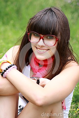 Brunette in rose spectacles