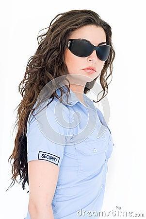Brunette Security girl