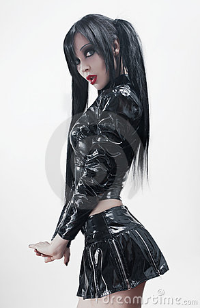 Free Brunette Sexy Woman In Black Vinyl Costume Royalty Free Stock Images - 19768199