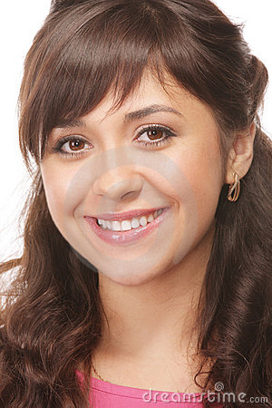 Brunette sorridente Toothy