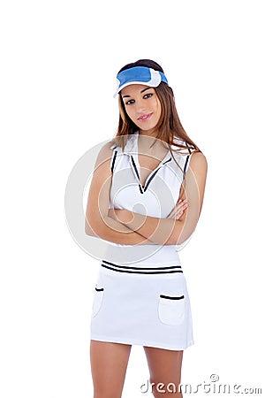 Brunette tennis sport girl with white dress