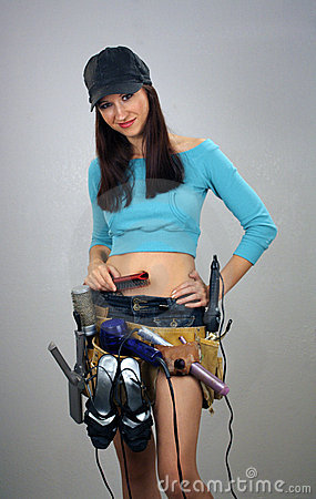 Brunette with Toolbelt of Feminine Items (2)