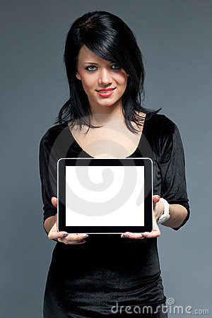 Brunette and touch pad device with blank screen