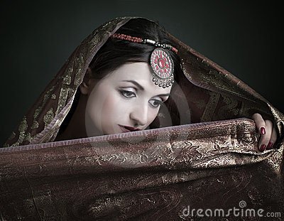 brunette  with traditional costume