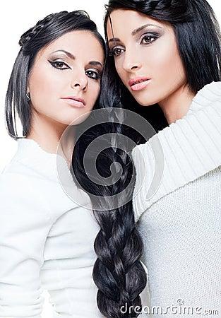 Brunette twins