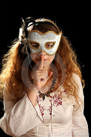 Brunette with venetian mask